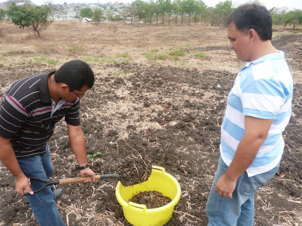 Muestreo de suelo para análisis previos a la colocación de biomanto en las parcelas desigandas para la investigación.